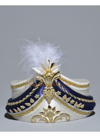 Sünnet Şapkası Krem-Lacivert Lüx