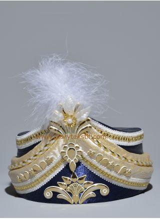 Sünnet Şapkası Lacivert-Altın