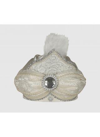 Sünnet Şapkası Lüx Krem-Gümüş