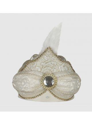 Sünnet Şapkası Muhteşem Krem-Lame