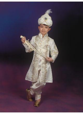 Şehzade Sünnet Kıyafeti Muhteşem Model Krem-Lame