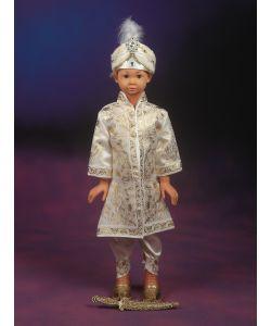 Şehzade Sünnet Kıyafeti Pargalı Model Krem-Lame