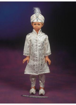 Şehzade Sünnet Kıyafeti Tuğralı Model Krem-Gümüş