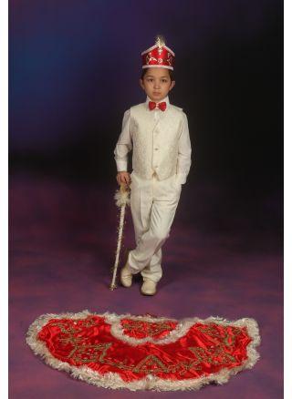 Sünnet Kıyafeti Pelerinli Takım Cihan Model Krem-Kırmızı