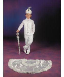 Sünnet Kıyafeti Pelerinli Takım Çınar Model Beyaz-Gümüş
