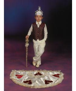 Sünnet Kıyafeti Pelerinli Takım Çınar Model Krem-Bordo