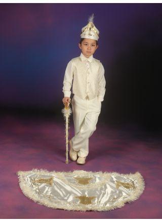 Sünnet Kıyafeti Pelerinli Takım Çınar Model Krem-Lame