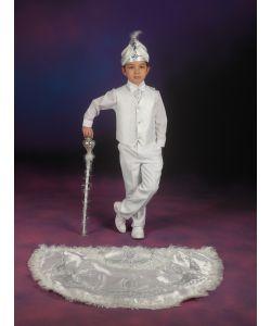 Pelerinli Takım Prens Model Beyaz-Gümüş