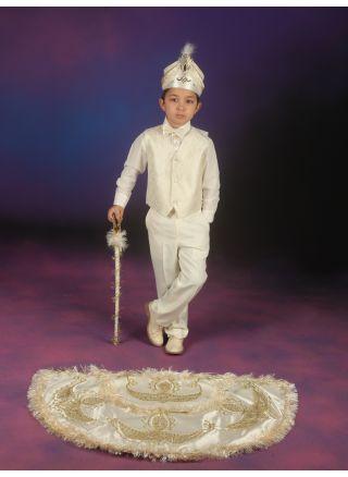 Pelerinli Takım Prens Model Krem-Lame